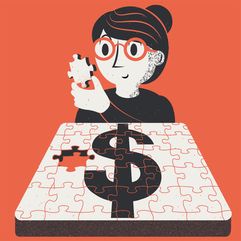 Accounting for small business. A business owner puts together the pieces of her accounting, which is represented as a jigsaw puzzle with a dollar sign on it.