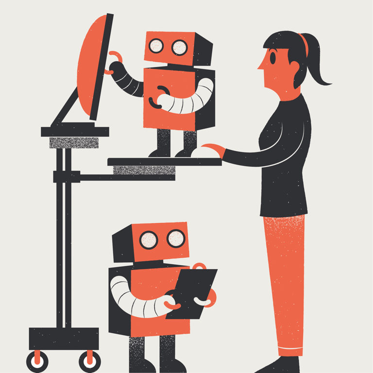 Automating your small business. A business owner at a computer is helped by two small robots. One of them is holding a clipboard.