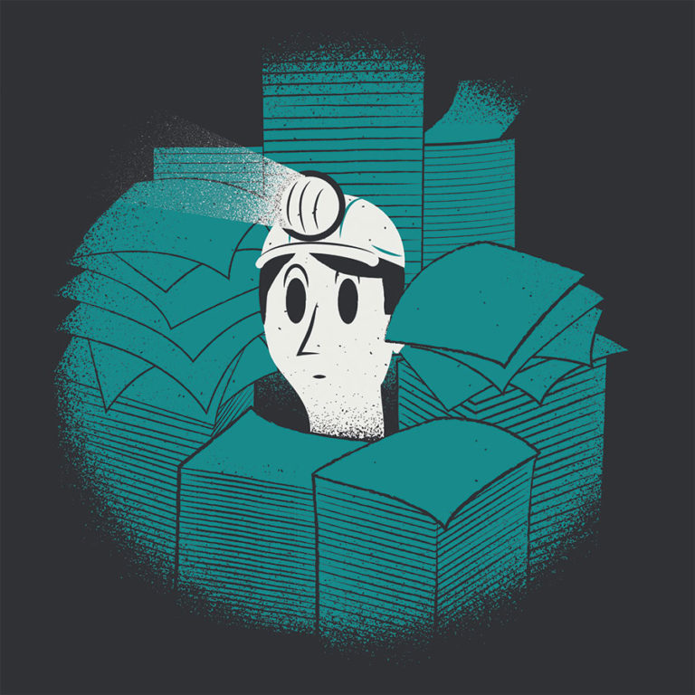 Bookkeeping for Small Business. A business owner, wearing a head lamp and a helmet, peeks out from behind giant piles of paper, as if he is a worker in some kind of bookkeeping mine.