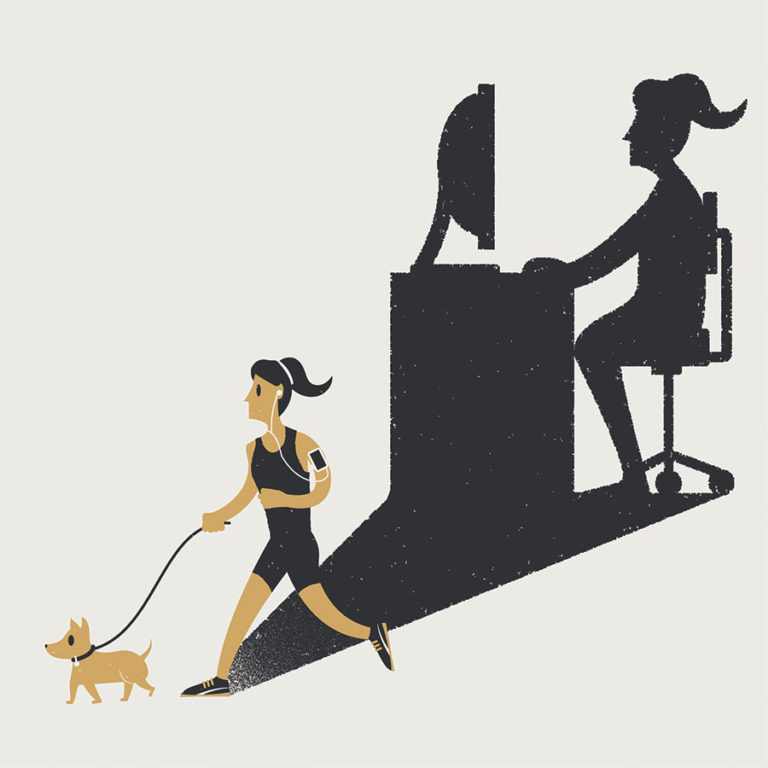 Automate your small business. A business owner goes for a jog with her pet dog instead of spending hours at her computer.