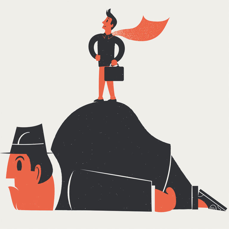 Tax basics. Wearing a cape, a business owner stands on the back of a giant man in a fedora, representing the Internal Revenue Service. He lies prone and disgruntled on his belly.