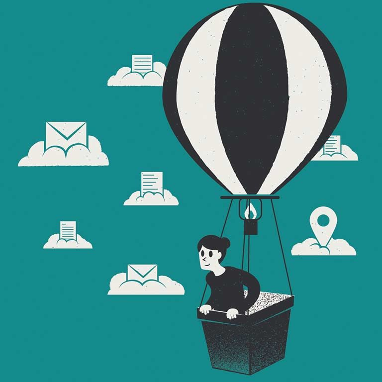 An entrepreneur rides in a hot air balloon agains a back drop of clouds, each supporting a symbol representing mail, business records, or mileage tracking