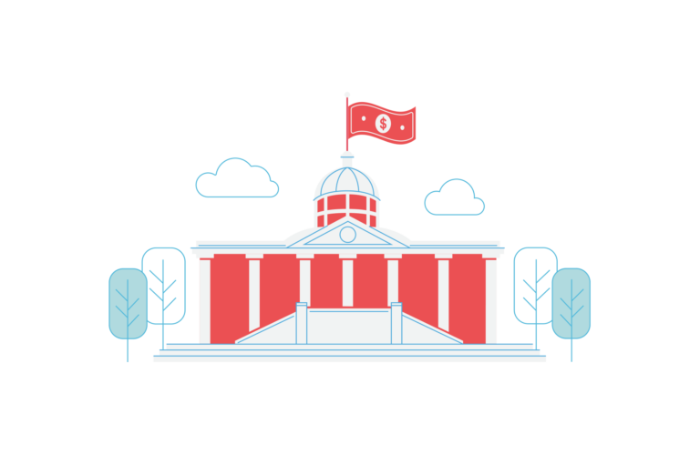 Cartoon illustration of the White House with dollar bill flag